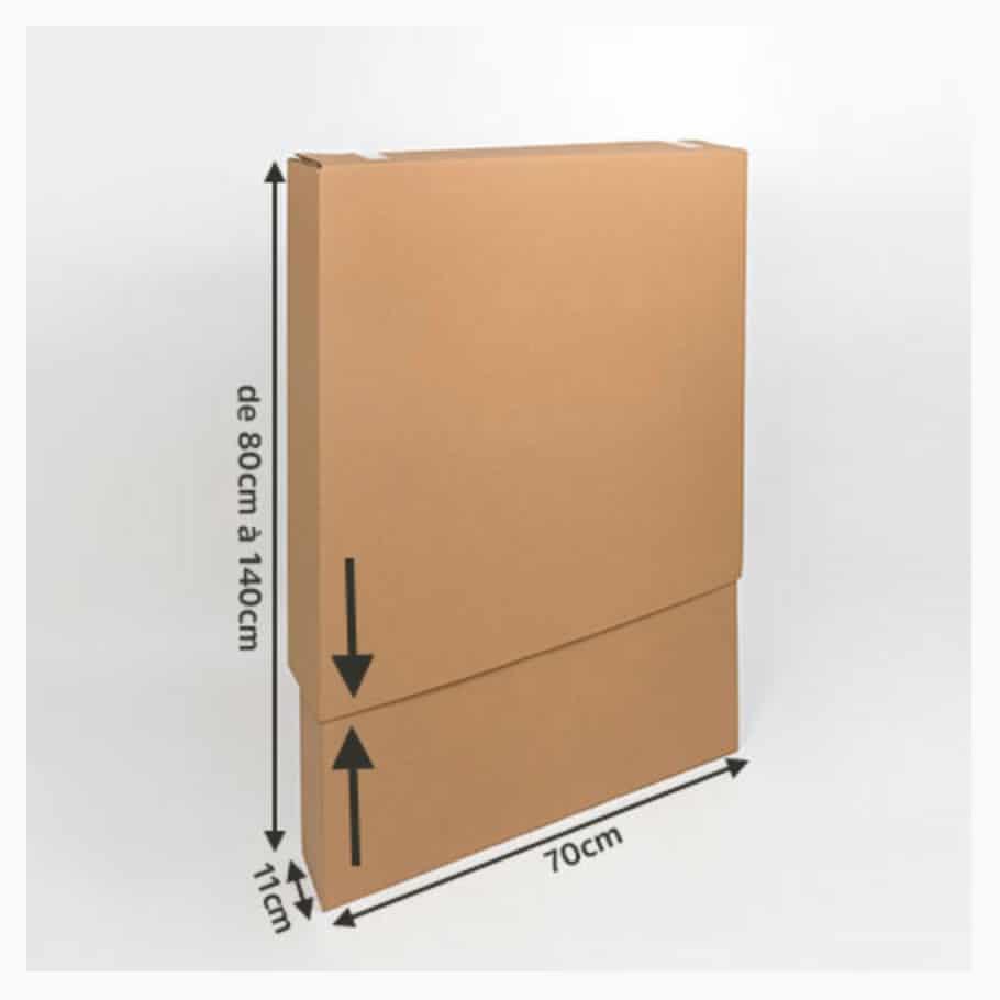 petit carton télescopique pour le déménagement d'un miroir, d'un cadre, d'un tableau...